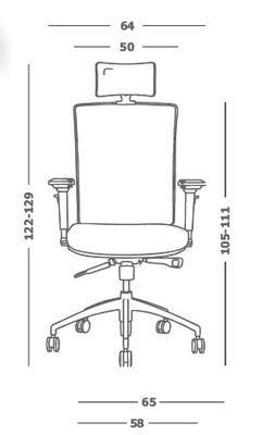 Ergonomická židle M1 s opěrkou hlavy a područkami - 4